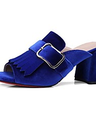 baratos -Mulheres Sapatos Microfibra Primavera Conforto Sandálias Salto Robusto Preto / Azul / Vinho