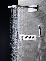 cheap -Shower Faucet - Contemporary Chrome Wall Mounted Ceramic Valve / Brass / Four Handles Three Holes