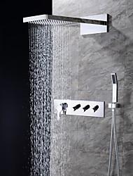 abordables -Robinet de douche - Moderne Chrome Montage mural Soupape céramique / Laiton / Quatre poignées trois trous