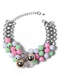 abordables -Femme Colliers plastrons Perles Bracelet - Balle Européen, Hyperbole, Mode Bracelet Rose Pour Quotidien