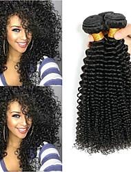 Недорогие -3 Связки Индийские волосы Монгольские волосы Kinky Curly 8A Натуральные волосы Необработанные натуральные волосы Подарки Косплей Костюмы Человека ткет Волосы 8-28 дюймовый Естественный цвет