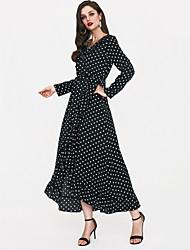 cheap -Women's Going out Slim Sheath Dress Maxi V Neck / Polka Dot