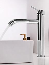 Недорогие -Ванная раковина кран - Широко распространенный Хром Настольная установка Одной ручкой одно отверстиеBath Taps