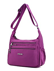 cheap -Women's Bags Nylon Shoulder Bag Zipper Purple / Fuchsia / Wine
