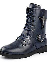 Недорогие -Муж. Армейские ботинки Наппа Leather Осень Ботинки Черный / Синий