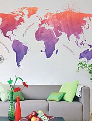 Недорогие -Декоративные наклейки на стены - Карта стены стикеры Карты Гостиная / Спальня / Ванная комната