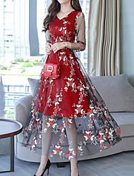 Недорогие -Жен. На выход Изысканный А-силуэт Платье - Цветочный принт, Вышивка V-образный вырез Средней длины / Осень