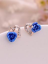 abordables -Femme Zircon cubique Boucles d'oreille goujon - Cœur, Fleur Romantique, Doux, Elégant Violet / Rouge / Bleu Pour Cadeau Rendez-vous