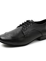 baratos -Homens Sapatos de Dança Moderna Pele Têni Recortes Salto Grosso Sapatos de Dança Preto
