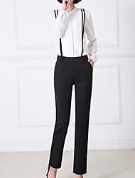 billige -Kvinders slanke dragter bukser - solid farvet høj talje