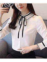 cheap -Women's Basic / Street chic Blouse - Solid Colored Black & White, Bow / Ruffle / Pleated