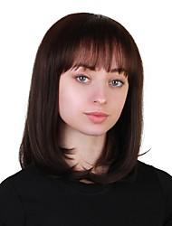 baratos -Perucas de cabelo capless do cabelo humano Cabelo Humano Liso Corte Bob Riscas Naturais Marrom Sem Touca Peruca Mulheres Diário
