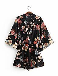 Недорогие -женская блузка - геометрическая / сплошная цветная шея
