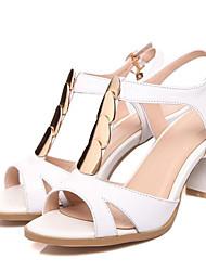 povoljno -Žene Cipele Mekana koža Proljeće Udobne cipele Sandale Kockasta potpetica Obala / Crn / Crvena