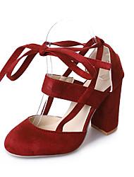 Недорогие -Жен. Strappy Stacked Heels Синтетика Весна лето Классика Обувь на каблуках На толстом каблуке Синий / Розовый / Вино