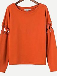 billige -Dame langærmet bomuld sweatshirt - solid farvet rund hals