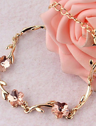 baratos -Mulheres Ruby Sintético Fashion Link / Corrente Pulseiras em Correntes e Ligações Tênis Pulseiras - Rose, Formato de Folha Doce, Fashion, Elegante Pulseiras Dourado Para Para Noite namorados