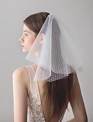 baratos -Quatro Camadas Doce Véus de Noiva Véu Ombro com Recortes 15,75 cm (40cm) Tule / Clássico