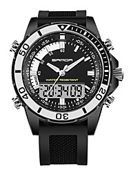 Недорогие -SANDA Муж. Спортивные часы / электронные часы Японский Календарь / Защита от влаги / Хронометр Pезина Группа Роскошь / Мода Черный / Белый / Хаки
