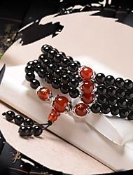 abordables -Femme Agate Le style rétro Perles Bracelets de rive Bracelets - Lotus Elégant, Asiatique, Ethnique Bracelet Noir Pour Anniversaire Festival