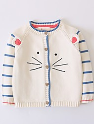 cheap -Kids Girls' Cat Solid Colored Long Sleeve Sweater & Cardigan