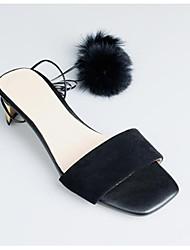baratos -Mulheres Sapatos Couro Ecológico Verão Conforto Sandálias Salto Robusto Preto