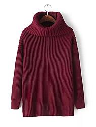 billige -Kvinder går ud med lange ærmer, slanke lange trøje - solid farvet besætningshals