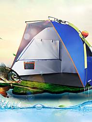 Недорогие -2 человека на открытом воздухе Тент для пляжа Дожденепроницаемый Устойчивость к УФ Автоматический Однокомнатная Однослойный 1000-1500 mm Палатка для Рыбалка Пляж Походы / туризм / спелеология