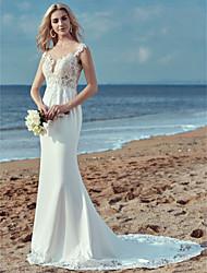 abordables -Fourreau / Colonne Encolure dégagée Traîne Brosse Dentelle / Satin Robes de mariée sur mesure avec Dentelle par LAN TING BRIDE®