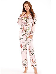 Недорогие -Жен. Глубокий V-образный вырез Костюм Пижамы Цветочный принт