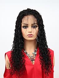 abordables -Cabello Remy Encaje Frontal Wig Cabello Brasileño Afro Kinky Peluca Corte asimétrico 130% / 150% / 180% Mujer / Fácil vestidor / sexy lady Negro Mujer Larga Pelucas de Cabello Natural