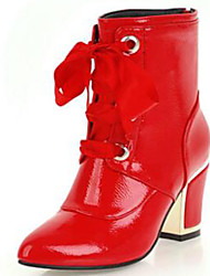 cheap -Women's Fashion Boots Patent Leather Fall & Winter Boots Chunky Heel Round Toe Mid-Calf Boots White / Black / Red / Party & Evening