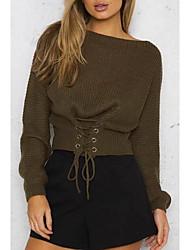 Недорогие -Жен. Шерсть Длинный рукав Свободный силуэт Пуловер - Однотонный Без бретелей