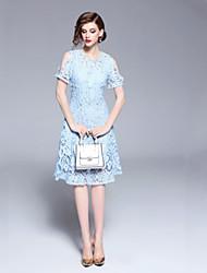 cheap -SHE IN SUN Women's Basic A Line Dress Lace Trims