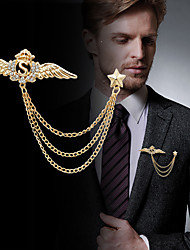 cheap -Men's Cubic Zirconia Stylish / Link / Chain Brooches - Creative, Wings Statement, Fashion, British Brooch Gold / Silver For Party / Daily