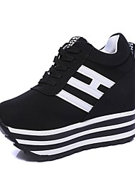 cheap -Women's Shoes Canvas Spring &  Fall Lace Up Sneakers Wedge Heel White / Black / Red