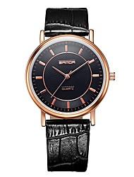Недорогие -SANDA Для пары Нарядные часы Наручные часы Японский Кварцевый 30 m Защита от влаги Повседневные часы Cool Кожа Группа Аналоговый На каждый день Мода Черный / Коричневый -