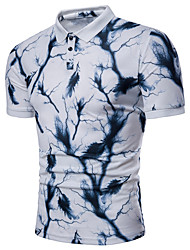 Недорогие -Муж. С принтом Polo Классический Контрастных цветов Синий и белый