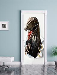 Недорогие -Дверные наклейки - 3D наклейки / Наклейки для животных Известные картины / Животные Детская