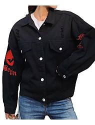 Недорогие -Жен. Джинсовая куртка Однотонный, Хлопок