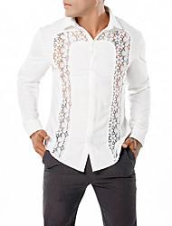 baratos -Homens Camisa Social Vintage / Moda de Rua Renda / Vazado, Sólido