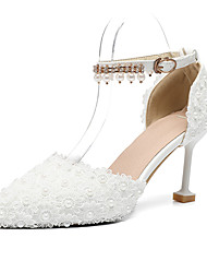 abordables -Femme Chaussures Polyuréthane Automne hiver D'Orsay & Deux Pièces Chaussures de mariage Kitten Heel Bout pointu Fleur en Satin / Boucle Blanc / Mariage / Soirée & Evénement