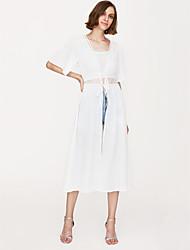 baratos -Mulheres Para Noite Moda de Rua Solto Vestido - Renda, Sólido Decote V Longo