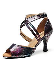 Недорогие -Жен. Обувь для латины Кожа Сандалии Пряжки Тонкий высокий каблук Персонализируемая Танцевальная обувь Черный