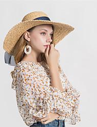 abordables -Femme Basique Chapeau de Paille - Noeud, Couleur Pleine / Printemps / Automne