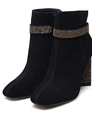 Недорогие -Жен. Обувь Овчина Осень Удобная обувь / Модная обувь Ботинки Блочная пятка Черный / Темно-русый