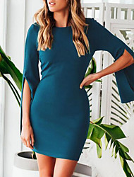 cheap -Women's Party / Going out Flare Sleeve Sheath Dress - Solid Colored / Summer / Slim