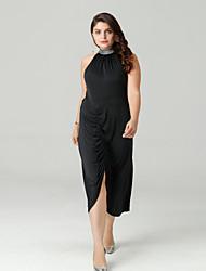 זול -צווארון עגול קצר א-סימטרי שמלה נדן רזה בגדי ריקוד נשים