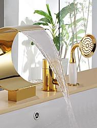 Недорогие -Смеситель для ванны - Полированный металл Ti-PVD Ванна и душ Керамический клапан