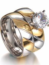 Недорогие -Для пары Цирконий Стильные Пасьянс Кольца для пар Обручальное кольцо - Стразы, Титановая сталь, Нержавеющая сталь Креатив Дамы, Стиль, Простой, Классика Бижутерия Золотой Назначение